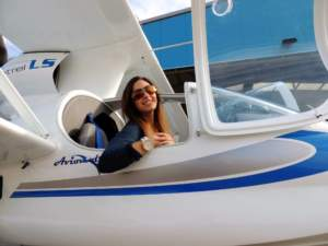 Sofia ready to test her Bigatmo's in the Super Petrel Amphibian Aircraft