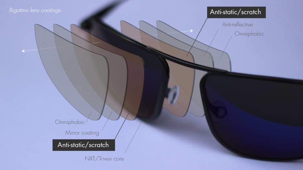 Bigatmo sunglasses lens coatings, anti-static anti-scratch coating