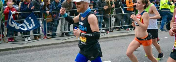 Luke Ashton wearing Bigatmo sunglasses whilst running London Marathon 2015