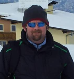 Adrian James wearing Bigatmo prescription polarized sunglasses on a skiing holiday