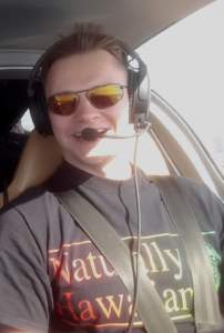 Lesny wearing Strato 0150 in the cockpit