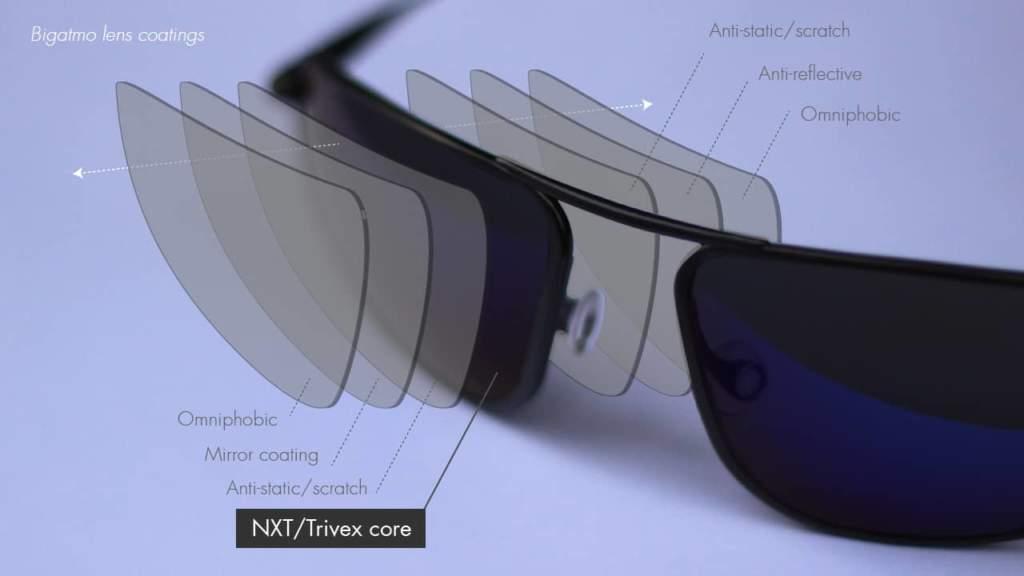 Bigatmo sunglasses lens coatings - NXT Trivex core