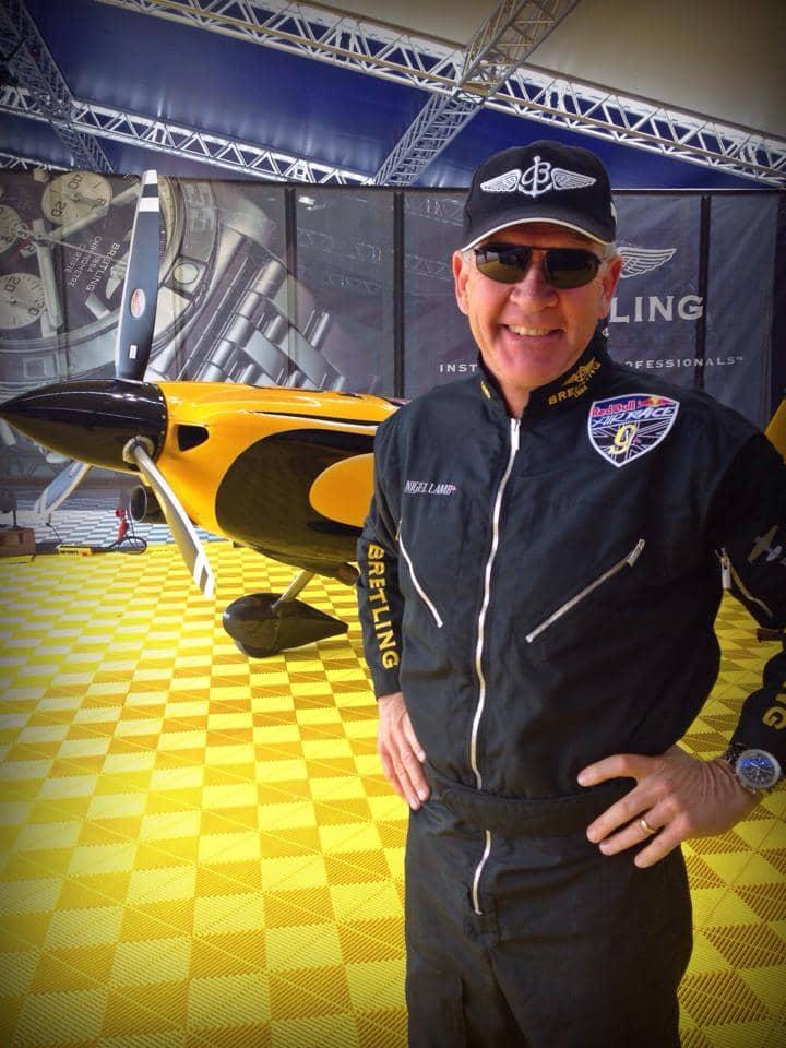 Nigel lamb air race pilot in 2014 Red Bull Air Race World Championships wears Bigatmo pilot sunglasses