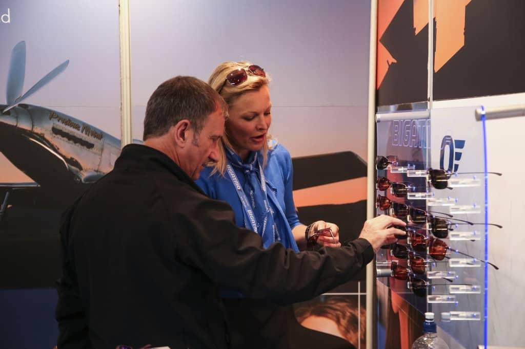 Bigatmo stand, Aero Expo UK, sunglasses for pilots