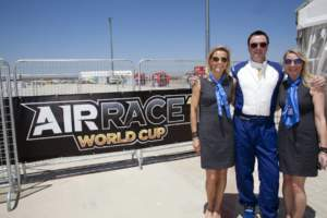 Des Hart and the Bigatmo girls in Lleida for Air Race 1 World Cup
